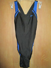 NEW* Speedo 12 38 Swimsuit RACING ATHLETIC Black Blue Striped $74 Retail