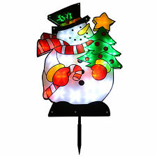 Snowman Light Garden Stake With 32 LEDs Indoor / Outdoor Christmas Decoration