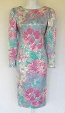 VINTAGE 1980s ANNE CRIMMINS FOR UMI COLLECTIONS SILK SEQUIN FLORAL DRESS SIZE 8