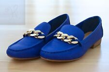 WOMENS GIRLS RIVER ISLAND ROYAL BLUE LEATHER OXFORD MOCCASINS SHOES SIZE 5 CHAIN