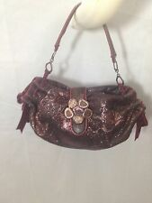 DESMO ITALY handbag leather flower embossed glitter jewelry buckle evening purse