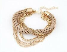 Gold Plated Chain Braided Rope Multi 7 Layer Bracelet Hand Cuff Women Jewelry