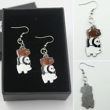 Anime 1 Pair We Bare Bears Women Earrings Ear Stud Cosplay Collection Box Cool