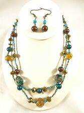 "New 18"" Necklace Earring Set with Turquiose & Earth Tone Glass Beads #N2389"