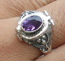 925 Solid Silver Balinese Style Poison Locket Ring & Amethyst Cut Size 6-H68