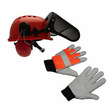 Chainsaw Safety Helmet With Steel Mesh Visor & Small Chainsaw Gloves