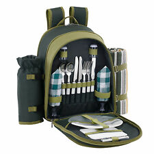VonShef 2 Person Green Picnic Hamper Backpack Rucksack Bag w/ Cooler Compartment