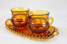 Indiana Amber Glass Sugar Creamer Tray Set Anchor Hocking CA