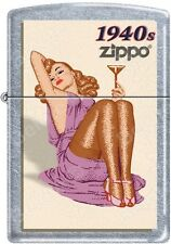 Zippo Windy Vintage Nose Art Martini Pinup 1940 Era Satin Chrome Lighter NEW