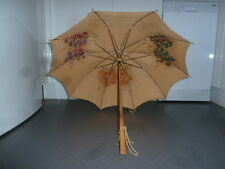 Rare Vintage Paragon S. Fox & Co Ltd Embroidered Natural Linen Parasol, c1920