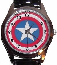 Marvel Comics CAPTAIN AMERICA Logo Leather Band WRIST WATCH