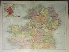 1939 MAP ~ IRELAND NORTH ~ DUBLIN ENVIRONS DONEGAL TYROL MAYO GALWAY