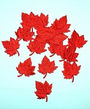 """Lots 40 Padded Red Satin Maple Leaf Applique 2"""" Decorating Scrapbook Craft Card"""