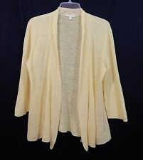 EILEEN FISHER WOMENS CARDIGAN TUNIC MEDIUM M LINEN SWEATER SHIRT TOP YELLOW WOW