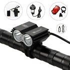 5000Lm 2x CREE XML U2 LED Head Front Bicycle Lamp Black HeadLight Rear Lamp