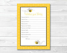 Yellow & Grey Bumble Bee Printable Baby Shower Wishes for Baby Advice Cards