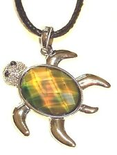 NEW Turtle Sensitive Stone Thermo Mood Changing Color Pendant Necklace