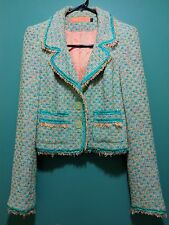 Cynthia Steffe Hair Trim Multi Color Cropped Tweed Blazer Fringed Jacket Sz XS