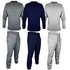Mens Plain Round Neck jogging suit Full Tracksuit Sweat Shirt Bottoms Top Fleece