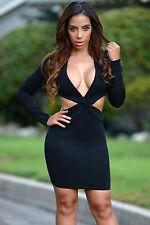 Mini Abito nero schiena aperta Nudo aderente Cut out Back Mini dress clubwear