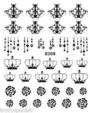 Nail Art Water Decals Transfers Black Chandelier Crowns Lace UV Tips Decoration