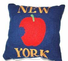 "Pottery Barn New York City Crewel Embroidered Pillow 12"" Big Apple  Discontinued"