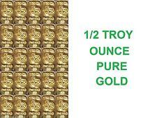 GOLD 1/2 Troy OZ 24K PURE SOLID TGR TEXAS BULLION BARS 999.9 INGOT 1/50th LOT  !