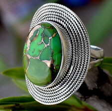 925 Solid Sterling Silver Big Green Copper Turquoise Stone Ring Size 7 8 9 10 11