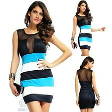 Sexy Sleeveless Black Mesh Colour Block Mini Bodycon Casual Clubwear Party Dress