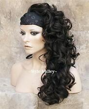 Darkest Brown (Brown Black) 3/4 Fall Hairpiece Long Curly Half Wig Hair Piece #2