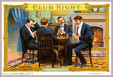 1909 Club Night Poker Cards Smoke Vintage Cigar Tobacco Box Crate Label Print