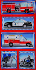 Police Fire EMS Fabric - Truck Motorcycle Heroes On Parade #9601 Red - Panel