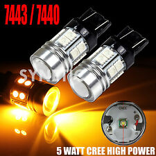 2x 7443 High Power CREE Q5+SMD Amber Yellow Turn Signal Blinker LED Light Bulbs