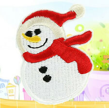 FD1338 Christmas Snowman Embroidery Cloth Iron On Patch Sew Motif Applique x1