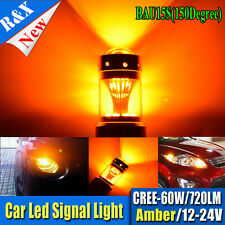 2X 60W bau15s Cree XBD LED Bulb High Power Turn Signal Backup Light Amber 12-24V