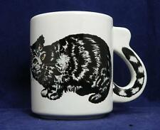 Cat Coffee Mug with Tail on Handle EUC