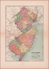 NEW JERSEY, ANTIQUE MAP, ORIGINAL 1886