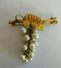 Art Deco faux pearl grape bunch brooch