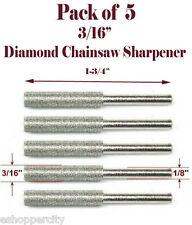 "5 Pc 3/16"" Diamond Chainsaw Sharpener Burr Stone File Fits Craftsman Dremel 1/8"