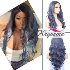 Synthetic Lace Front Wigs Heat Resistant Long Wavy Purple Blue Wig For Women 22""