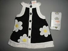 NWT Gymboree 3-6 Bee Chic Daisy Applique Black Jumper+White Tights New Outfit