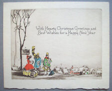 1930's Waiting for the coach w gifts early CHRISTMAS VINTAGE GREETING CARD *s