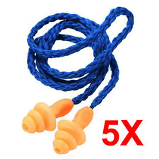 5x Authentic Soft Silicone Corded Protective Ear Plugs Noise Reduction Earplugs