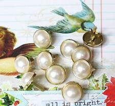 12mm PEARL BRADS- WHITE w/Gold Trim Scrapbook CardMaking 10pc