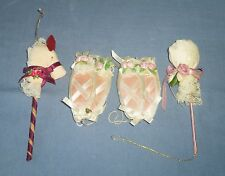 Vtg Lot  Fabric Cloth CHRISTMAS Tree Ornament Ballerina Shoes Slippers Toy Horse