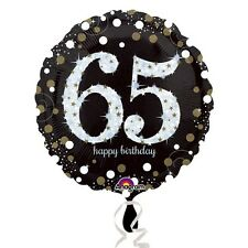 Black and Gold  Celebration 65th Birthday Foil Helium Balloon
