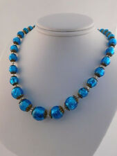 1950's BLUE FOIL ART GLASS BEAD NECKLACE VINTAGE RETRO ITALY ITALIAN