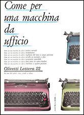 PUBBLICITA' OLIVETTI LETTERA 22  MODELLI COLORATI CARATTRISTICHE UFFICIO