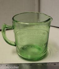 Green Measuring Cup Cream Dove Co. Binghamton, NY Retro Depression Style Glass