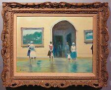 Museum Interior 1960's exhibition Impressionist oil painting Claude